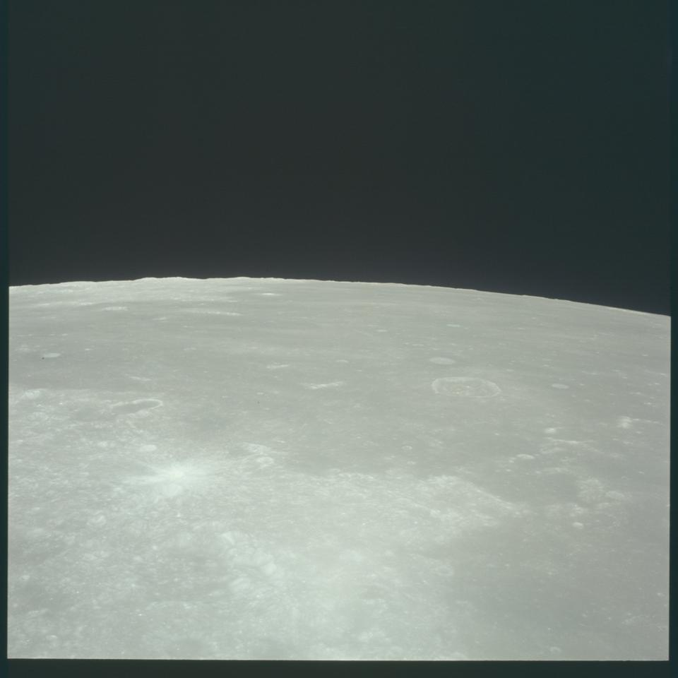 Section of the Moon as photographed by Michael Collins aboard Apollo 11's orbiter.