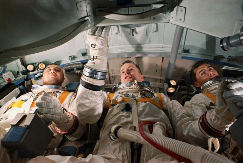From left to right, Apollo 1 astronauts Roger Chaffee, Ed White, and Gus Grissom.