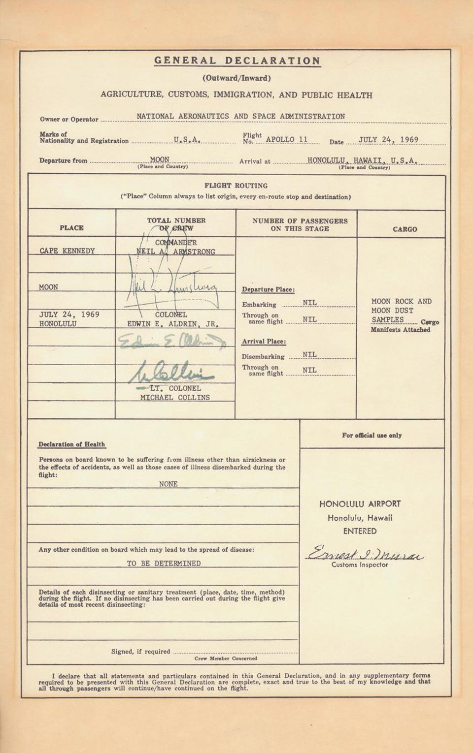 The customs form filled out by the Apollo 11 astronauts returning from the Moon.