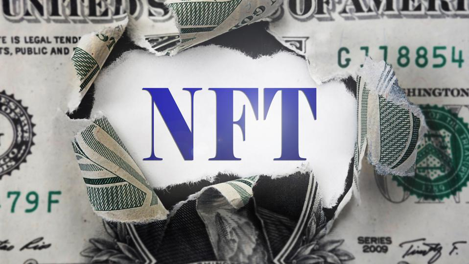 NFT ( Non-Fungible Token ) text in a torn dollar bill