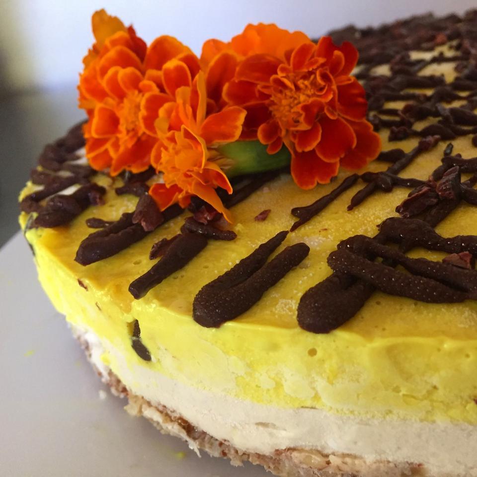 Lemongrass and turmeric raw Vegan cheesecake