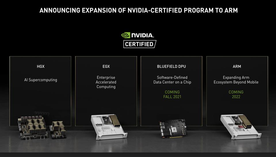NVIDIA will add the DPU and ARM servers to NVIDIA Certified.