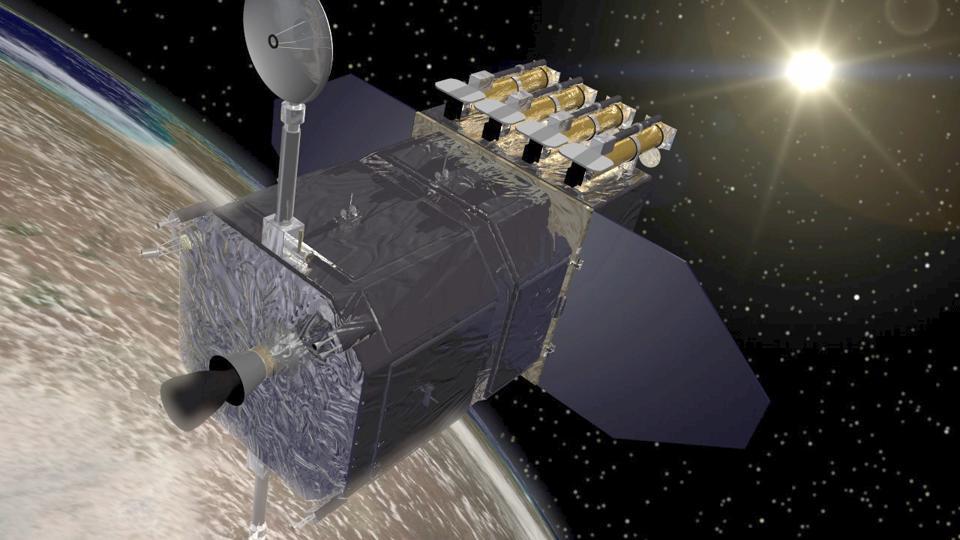 Ilustración colorida de un satélite en órbita con el sol de fondo