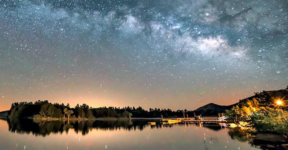 The Milky Way over Lake Cuyamaca, a recreation area near Julian, California.