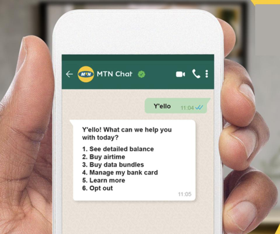 MTN Chat uses WhatsApp to make payments for airtime, driven by Clickatell and Ozow.