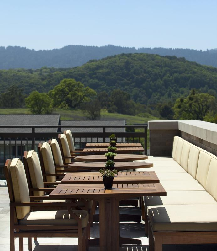 The terrace at Madera restaurant, Rosewood Sand Hill, Menlo Park, California, in the heart of the Silicon Valley venture capital landscape.
