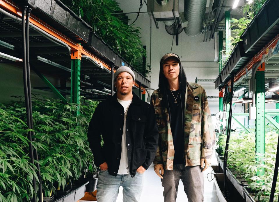 Demrick and DJ Hoppa at a grow op
