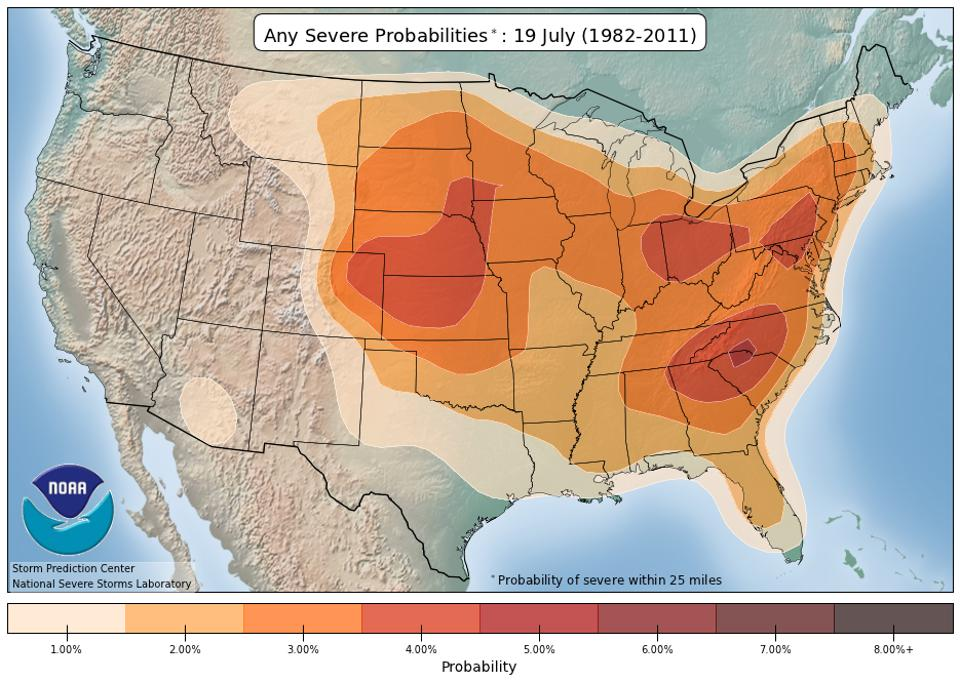 A map showing the average probability of severe weather in the U.S. on July 19.