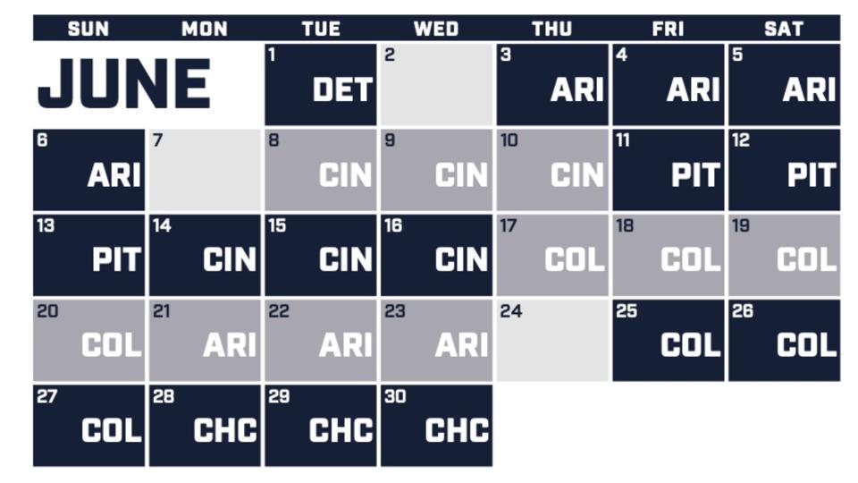 Milwaukee Brewers June 2021 schedule