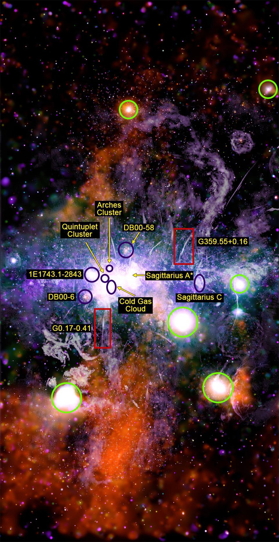This annotated diagram shows many regions of interest in this X-ray/radio composite.