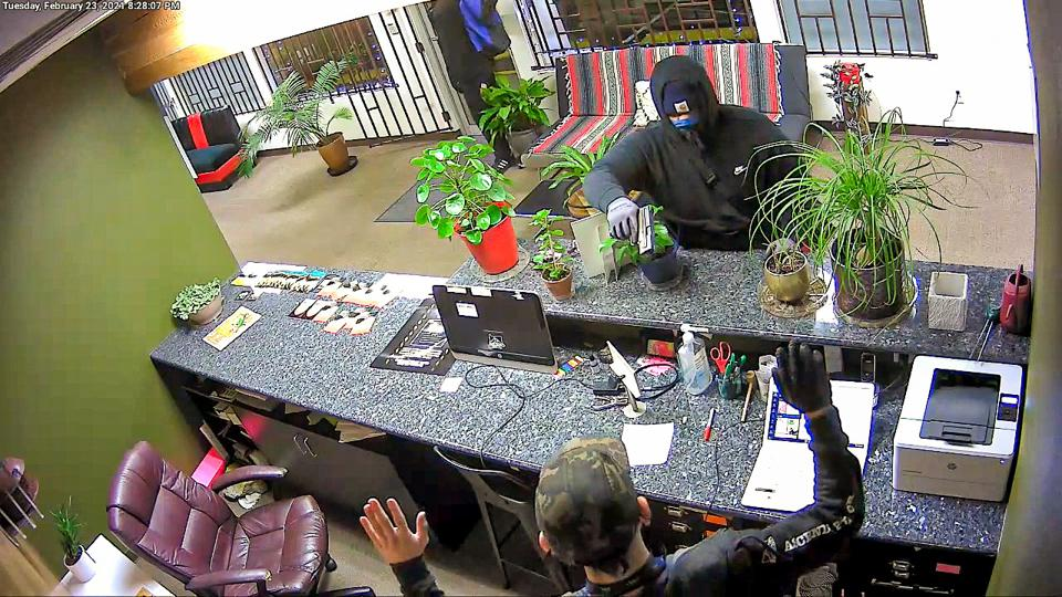 A budtender was robbed a gunpoint at Ascend dispensary in Portland, Oregon, on Feb. 23, 2021.