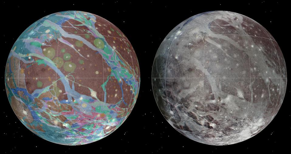 To present the best information in a single view of Jupiter's moon Ganymede, a global image mosaic was assembled, incorporating the best available imagery from NASA's Voyager 1 and 2 spacecraft and NASA's Galileo spacecraft. This image shows Ganymede centered at 200 west longitude. This mosaic (right) served as the base map for the geologic map of Ganymede (left).