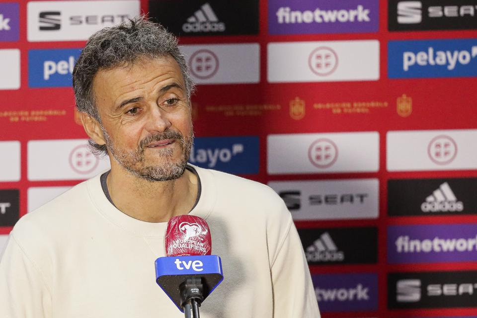 Luis Enrique is interviewed by the press during the European Championship qualifiers.