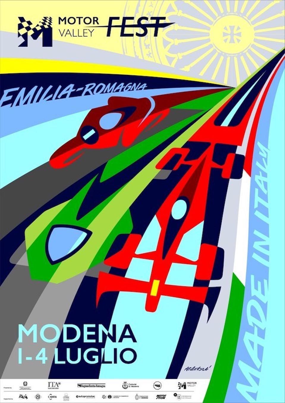 Official Motor Valley Fest poster designed by Aldo Drudi