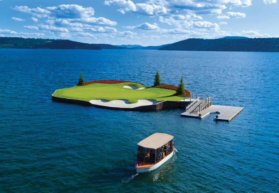 Green floating golf course in Idaho