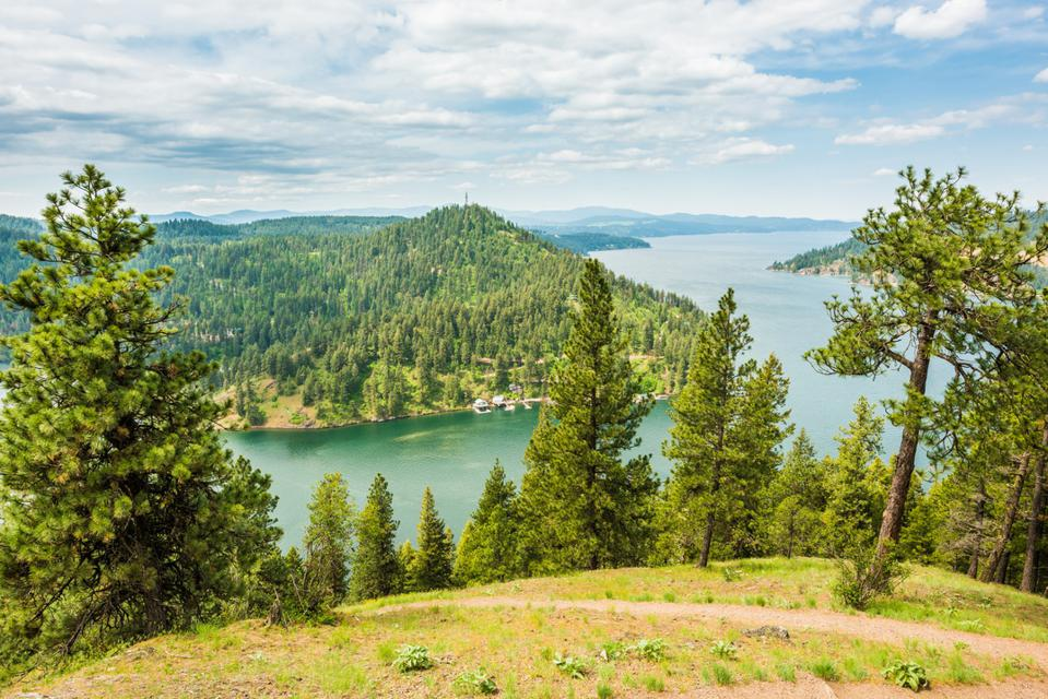 View of the Coeur d'Alene lake from the mountains