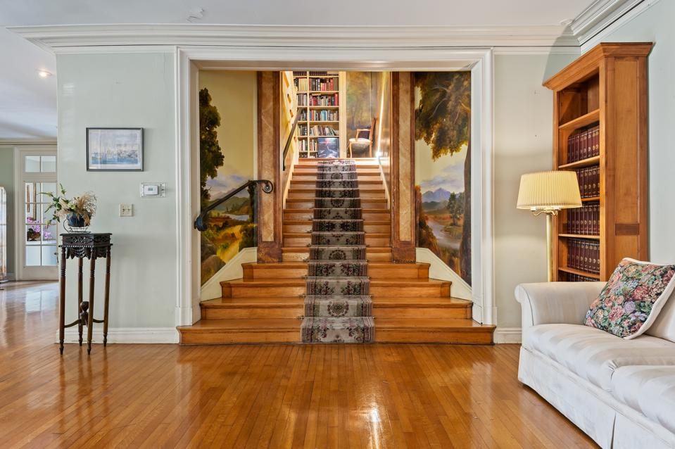 julia morgan-designed redwood ballroom stairs montecito mansion moody sisters