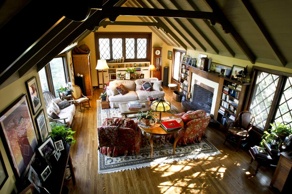 The living room features cathedral ceilings in the home owned by Larry and Donna Mason who have liv