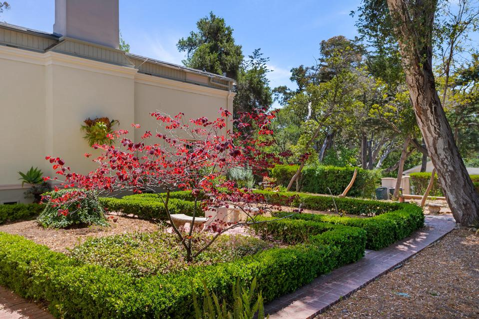formal gardens surrounded by box hedges in santa barbara california