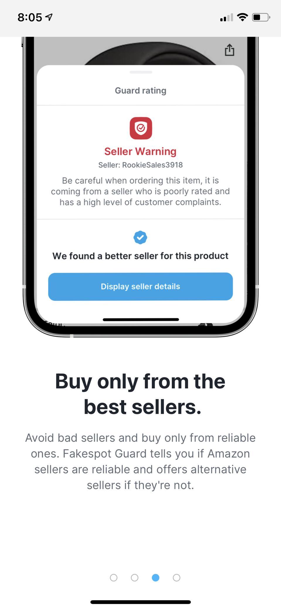 A seller warning in Fakespot