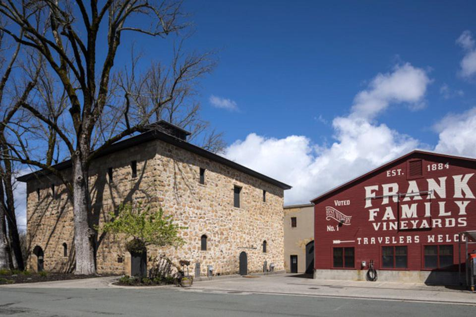 The stone winery and tasting barn at Frank Family Vineyards in Calistoga.