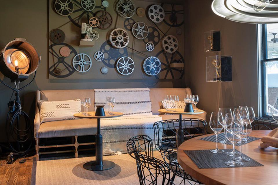The Hollywood-themed tasting room is a nod to  Rich and Leslie's television backgrounds.