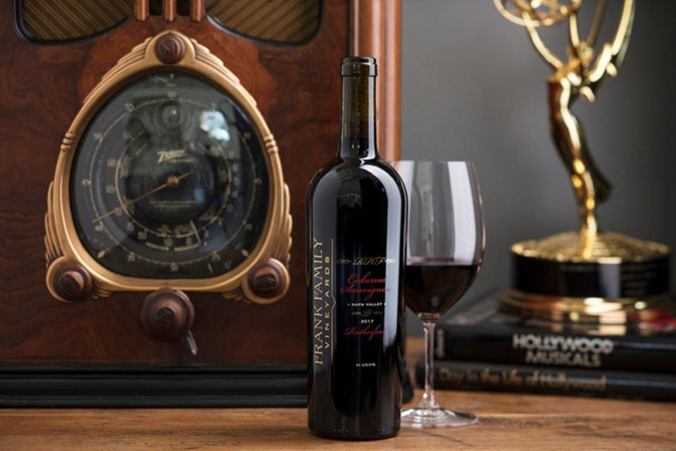 A bottle of Frank Family Vineyards Rutherford Cabernet Sauvignon in the Hollywood Room.