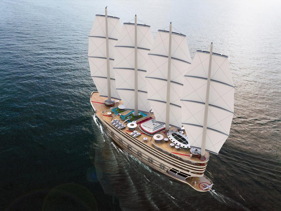 The sails up on the Galleon concept yacht by Steve Kozloff