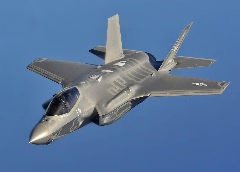 The F-35 fighter in flight above Florida.