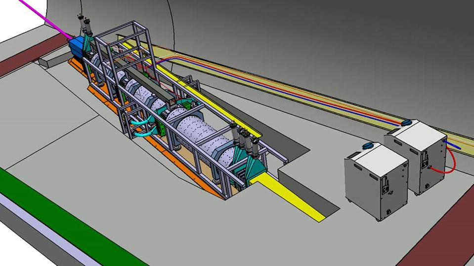 Engineering drawing of the FASER detector