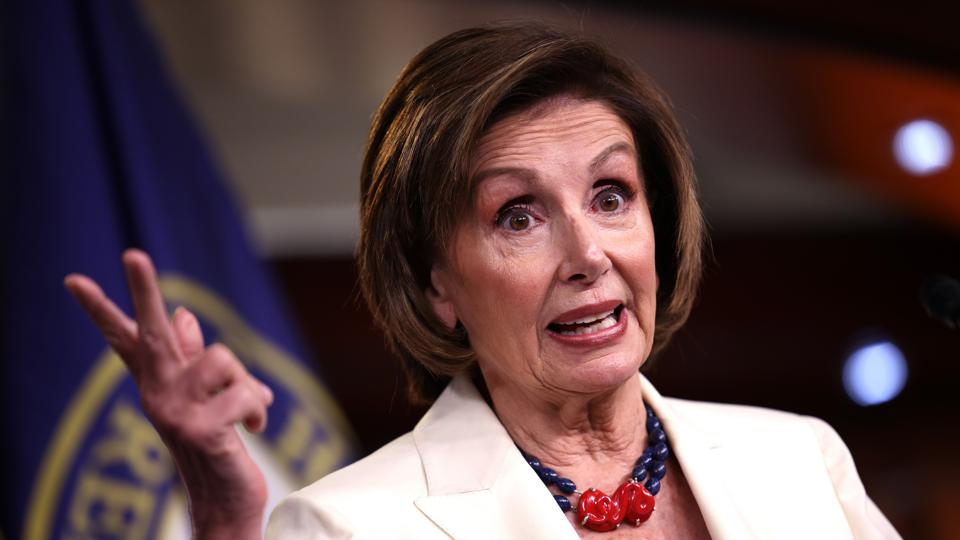 Speaker Pelosi Holds Weekly Media Briefing On Capitol Hill