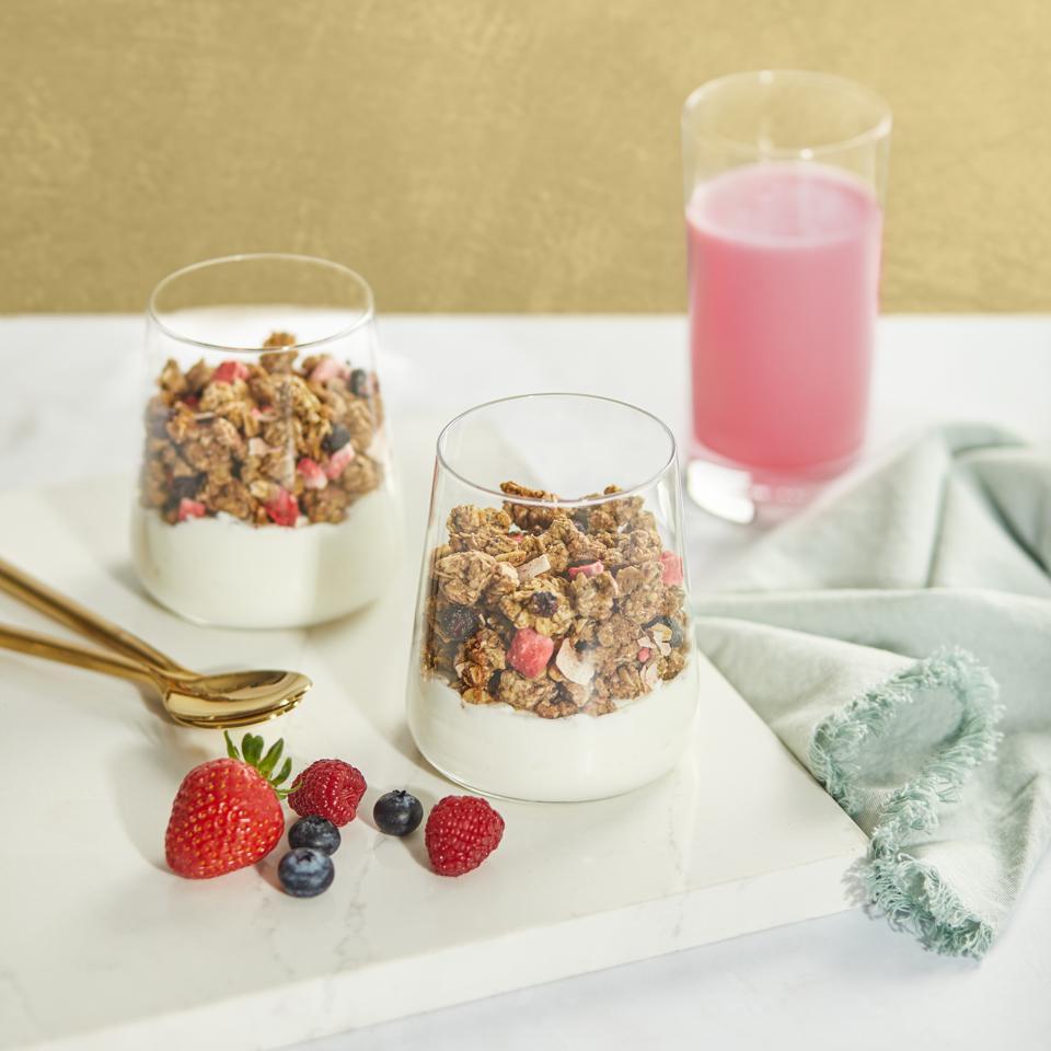 Nature's Path Smoothie Bowl Superfood Granola in yogurt.