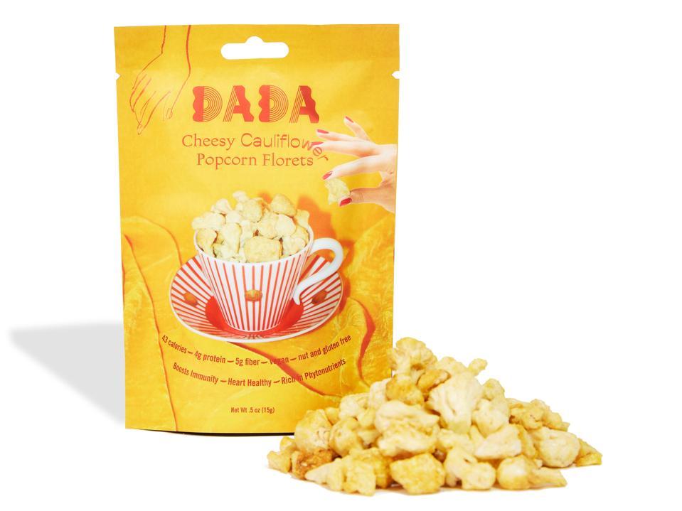 A bag of DADA Daily Cheesy Cauliflower Popcorn Florets.
