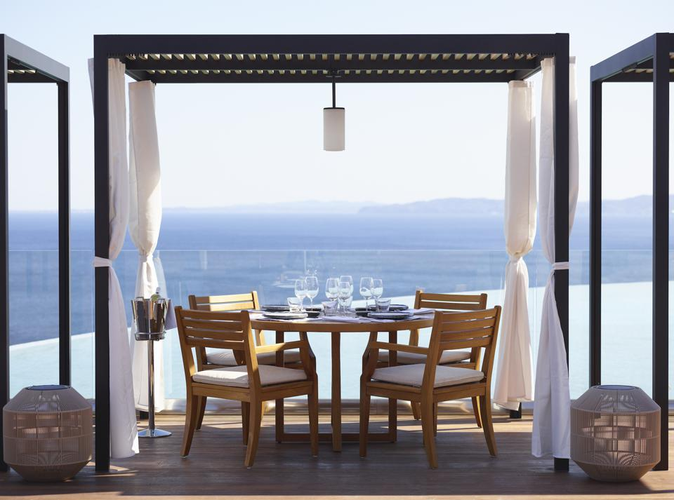 Table overlooking the sea in Greece