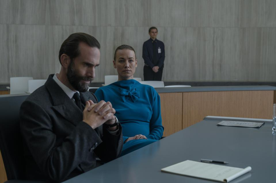 The Handmaid's Tale Fred and Serena at the hearing