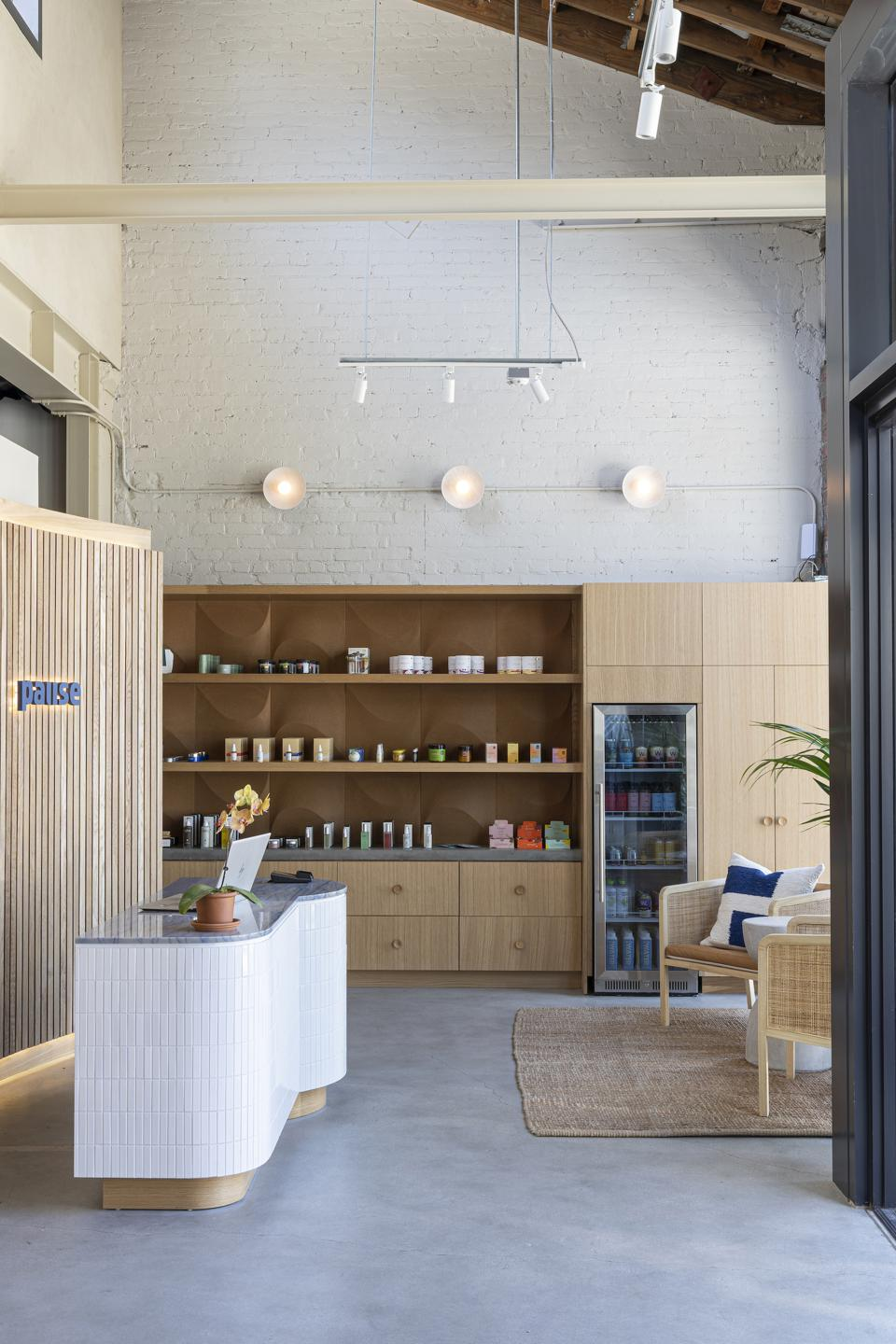 The lobby of LA wellness destination Pause's new West Hollywood studio
