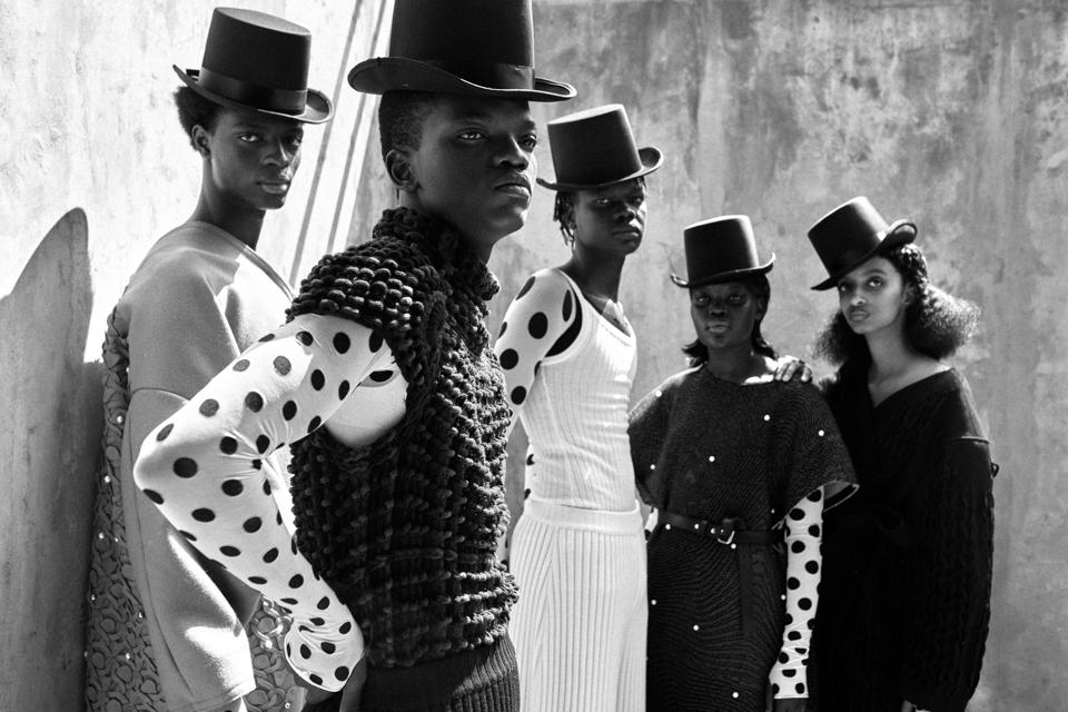 Models wearing Lecavalier backstage at Solange Knowles and Saint Heron's ″ Passage ″ for The International Woolmark Prize.