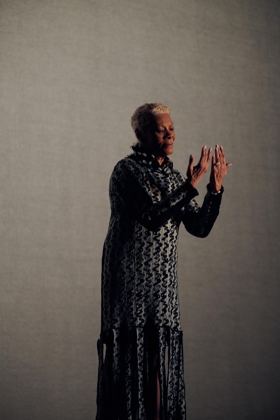 Dionne Warwick wearing Thebe Magugu backstage in Solange Knowles and Saint Heron's ″ Passage ″ for The International Woolmark Prize.