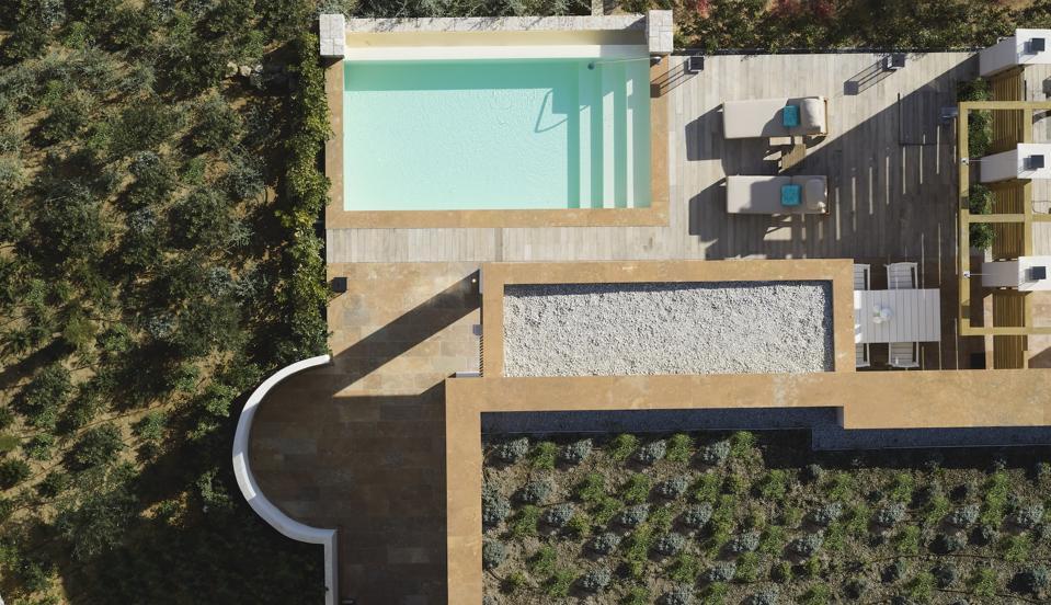 Overhead view of a villa at Angsana Corfu Resort & Spa