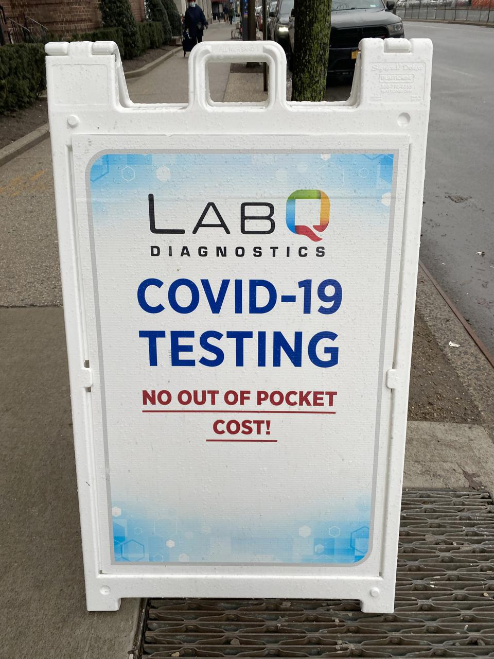 Lab Q Diagnostics, Covid-19 Testing, no out of pocket cost, sandwichboard sign, Queens, New York, pandemic, health and medicine, medical testing, Covid 19, sidewalk, promotion, advertising, information