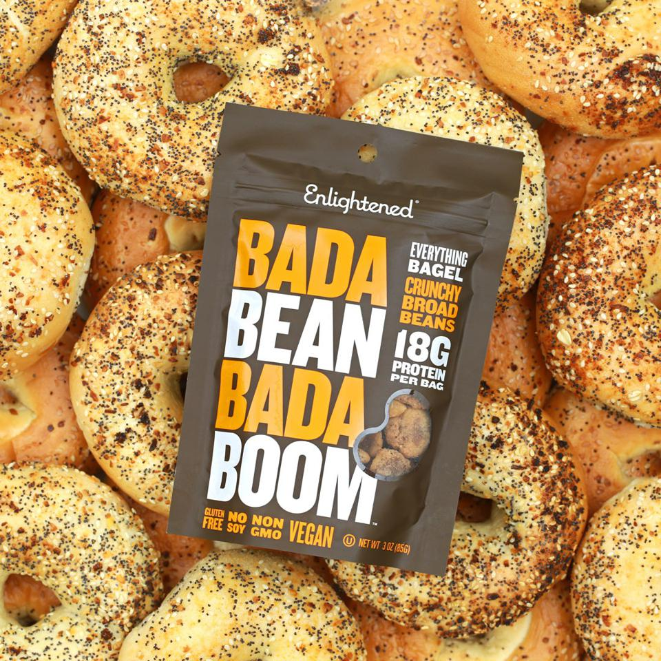 A bag of Bada Bean Bada Boom Everything Bagel broad bean snacks.