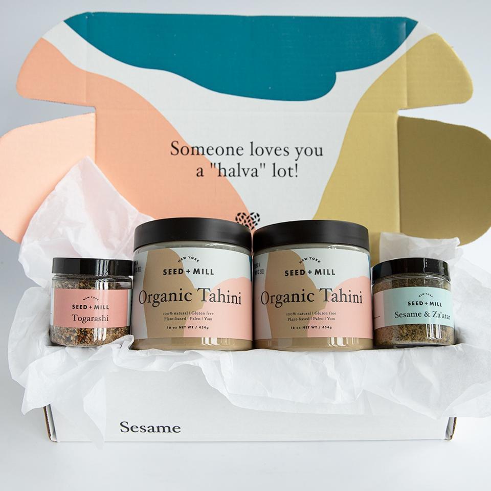 Seed+Mill Organic Tahini, Sesame and Za'atar and Togarashi spice blends.