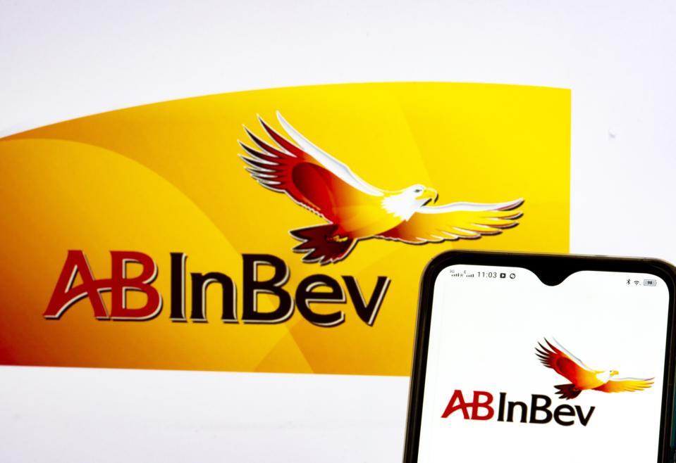 In this photo illustration, Anheuser-Busch InBev SA/NV logo...