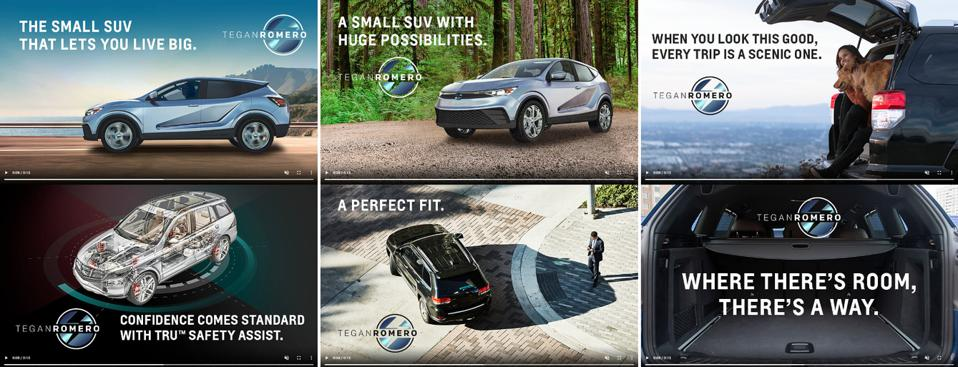 Different Ad Copy & Visuals Tested by the IBM Watson AI Accelerator For The Car TEGANROMERO