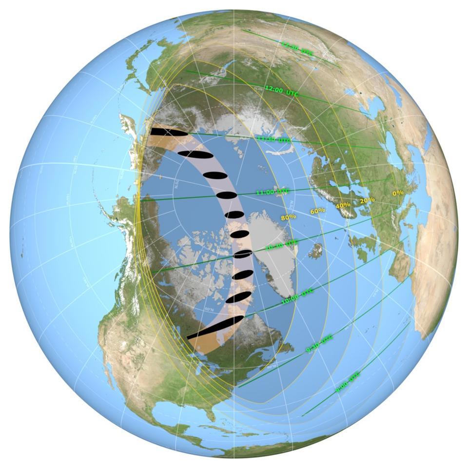 Mapa global de la trayectoria de las sombras del eclipse solar anular del 10 de junio de 2021. Los tiempos están en UTC.