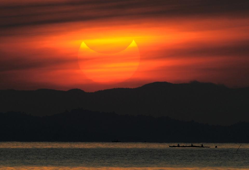 A partial solar eclipse as seen during s