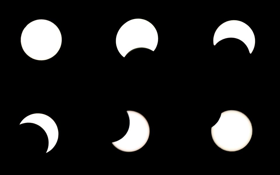 The partial solar eclipse in Europe will look something like this sequence, and will last almost two hours.