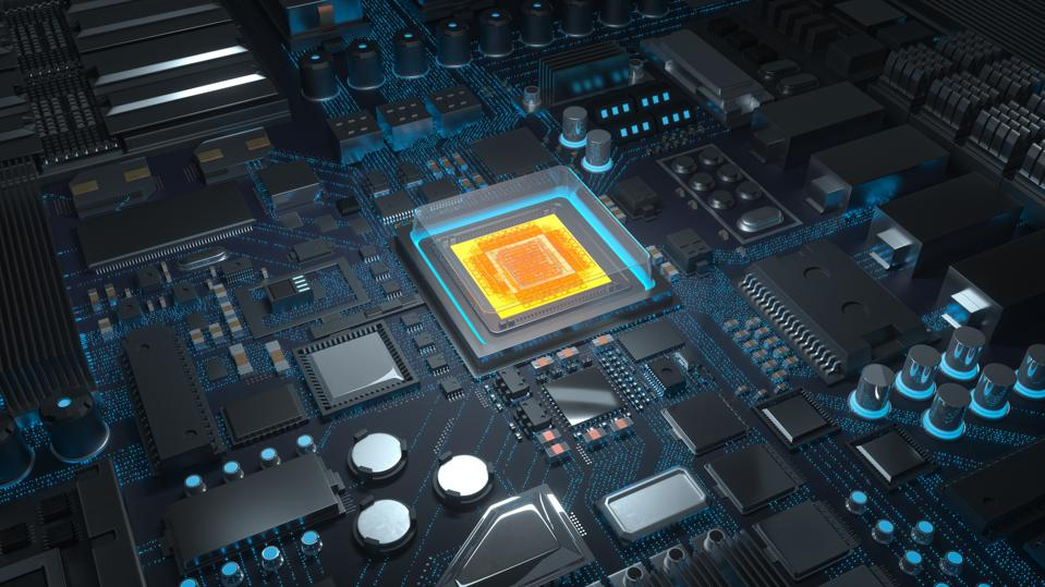 Computer chip with circuit board