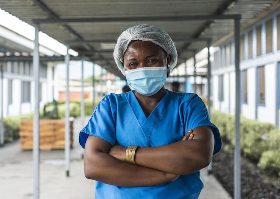 Nurse Jeanne received her COVID-19 vaccine, supplied through the COVAX initiative, in Goma, Democratic Republic of the Congo. The May 22 eruption of Mount Nyiragongo and subsequent earthquakes have displaced as many as 400,000 people.