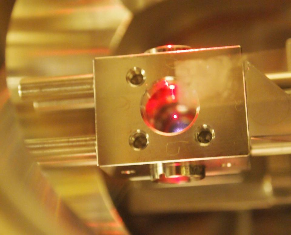 Image of an optically levitated microsphere in vacuum.